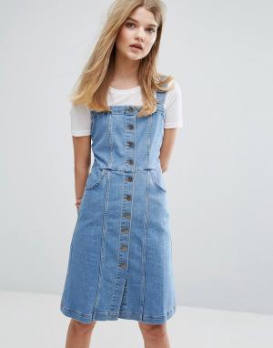 Gestuz Джинсовое платье на пуговицах Eliza. Цвет: синий