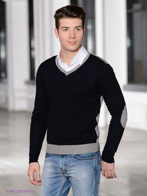 Пуловер Fresh. Цвет: темно-синий, серый меланж