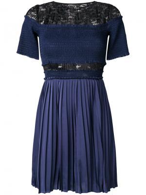 Плиссированное платье Paris Nights с рюшами Three Floor. Цвет: синий