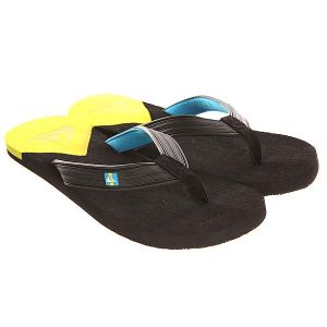 Вьетнамки  Molokai New Del Sndl Black/Yellow Quiksilver. Цвет: черный,желтый