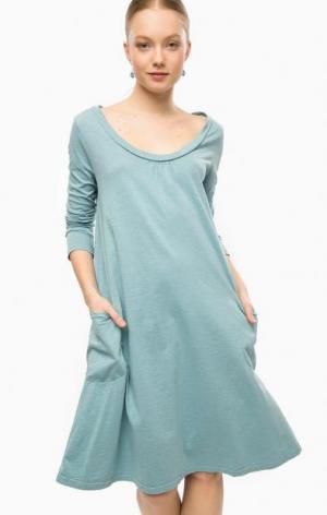 Бирюзовое платье из хлопка с длинными рукавами THINK CHIC. Цвет: бирюзовый