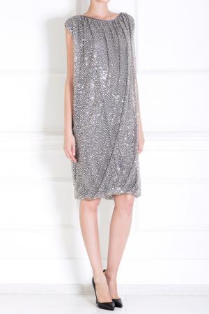 Шелковое платье Naeem Khan #2. Цвет: серебряный