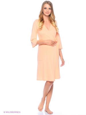 Комплект женский для беременных и кормящих (халат+сорочка) Hunny Mammy. Цвет: оранжевый, персиковый