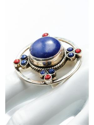 Кольцо Лазурит Anastasiya Usoltseva. Цвет: синий, красный, серебристый