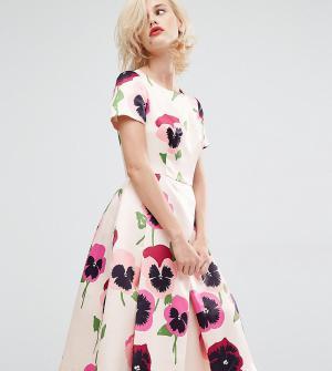 Horrockses Атласное платье для выпускного с ярким цветочным принтом Ir. Цвет: мульти