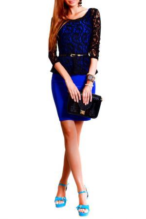 Платье FRANCESCA LUCINI. Цвет: черное кружево, синий