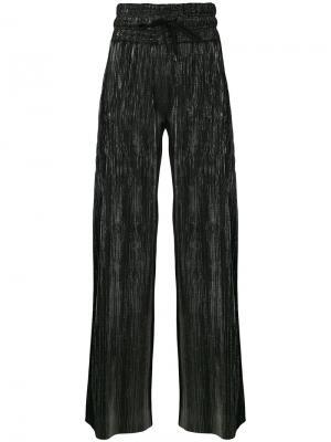 Широкие брюки с блестящей отделкой Pierre Balmain. Цвет: металлический