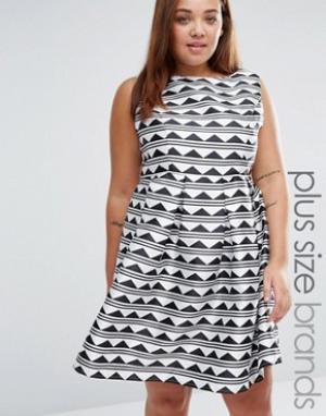 Praslin Короткое приталенное платье с принтом Plus. Цвет: черный