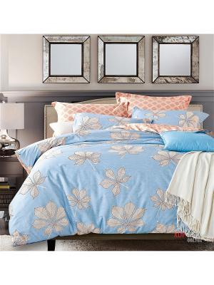 Постельное белье 1,5спальное 1st Home. Цвет: голубой, оранжевый