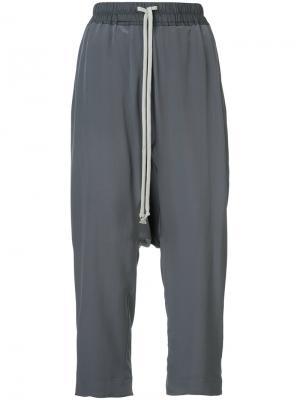 Укороченные брюки на завязках Rick Owens. Цвет: серый