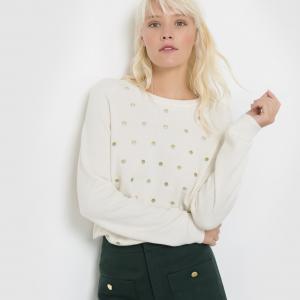 Пуловер с широким вырезом-лодочкой и вышивкой PRUDENCE SUNCOO. Цвет: экрю