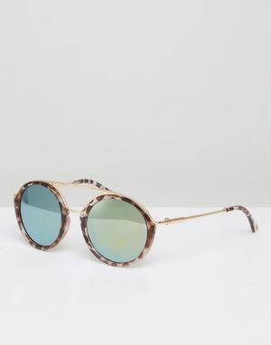 7X Солнцезащитные очки в круглой черепаховой оправе. Цвет: коричневый