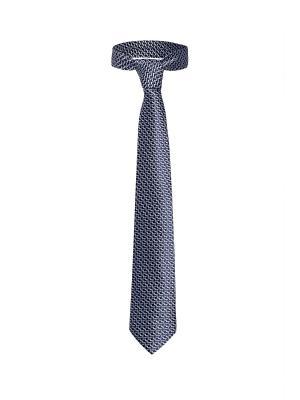 Классический галстук По улицам Нью Йорка с модным принтом Signature A.P.. Цвет: темно-синий, белый