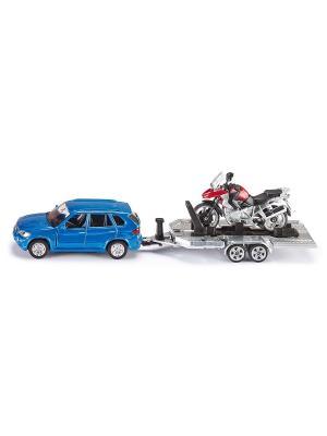 Автомобиль BMW с прицепом и мотоциклом SIKU. Цвет: синий, серый