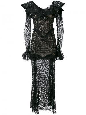 Кружевное длинное платье Alessandra Rich. Цвет: чёрный