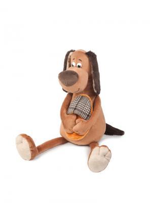 Мягкая Игрушка Пес Шерлок в Куртке, 28 См MAXITOYS. Цвет: коричневый, малиновый