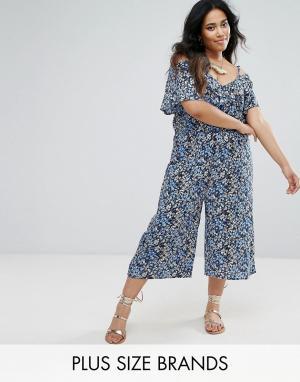 Diya Комбинезон с вырезами на плечах и широкими штанинами Plus. Цвет: мульти