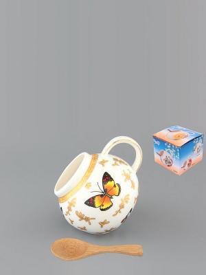 Банка для соли Бабочки с деревянной ложкой Elan Gallery. Цвет: белый, коричневый, золотистый