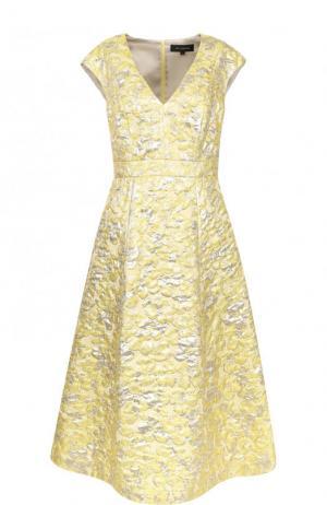 Приталенное платье-миди с V-образным вырезом St. John. Цвет: желтый