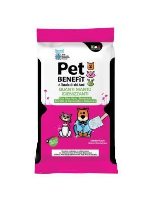 Очищающие влажные перчатки 048008 для ухода за шерстью, 6 шт/упак Pet Benefit. Цвет: розовый