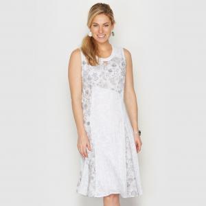 Платье из двух материалов ANNE WEYBURN. Цвет: рисунок + белый