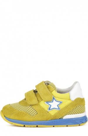 Замшевые кроссовки со вставками и застежками велькро Falcotto. Цвет: желтый