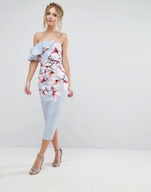 True Violet Асимметричное платье на одно плечо с цветочным принтом. Цвет: мульти