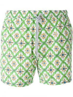 Плавательные шорты с цветочным узором Capricode. Цвет: зелёный