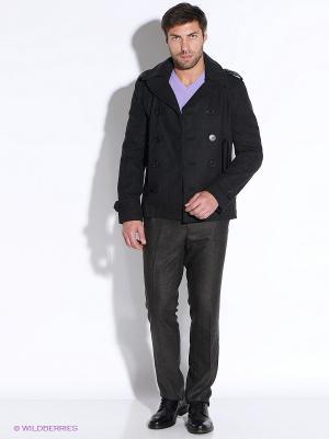 Пальто Oodji. Цвет: темно-серый
