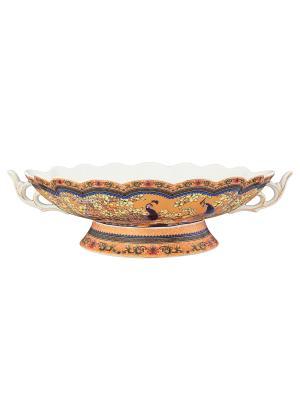 Конфетница-ладья Павлин золотой Elan Gallery. Цвет: золотистый, синий, коричневый, розовый