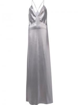 Платье макси Galvan. Цвет: металлический