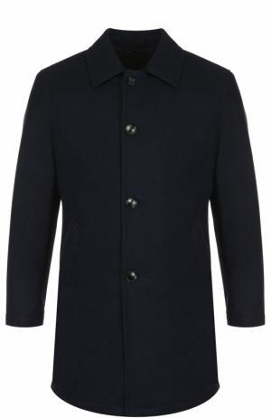 Шерстяное однобортное пальто Sartoria Latorre. Цвет: темно-синий