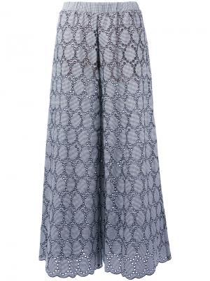 Широкие брюки с вышивкой Erika Cavallini. Цвет: синий