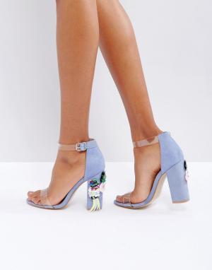 Truffle Collection Босоножки на блочном каблуке с декоративной отделкой Collectio. Цвет: синий