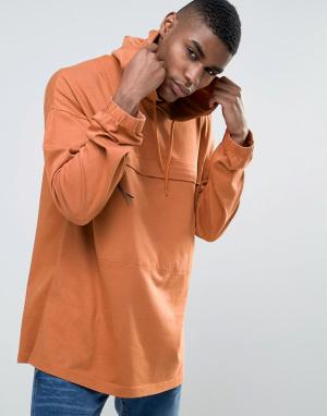 ASOS Oversize-лонгслив с капюшоном и карманом. Цвет: оранжевый