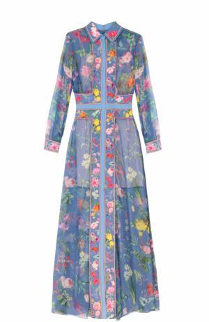 Платье-макси с ярким цветочным принтом Tadashi Shoji. Цвет: голубой