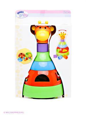 Пирамидка-сортер. Жираф Simba. Цвет: зеленый, голубой, красный