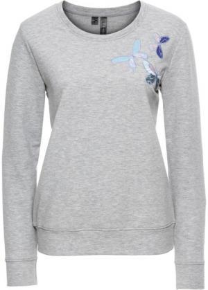 Свитшот с нашивками-бабочками (светло-серый меланж) bonprix. Цвет: светло-серый меланж