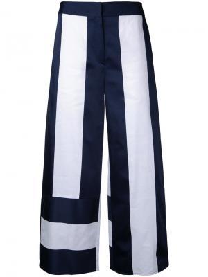 Укороченные двухцветные брюки-палаццо Goen.J. Цвет: белый
