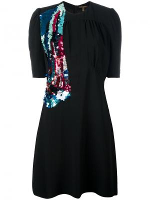 Расшитое пайетками платье Louis Vuitton Vintage. Цвет: чёрный