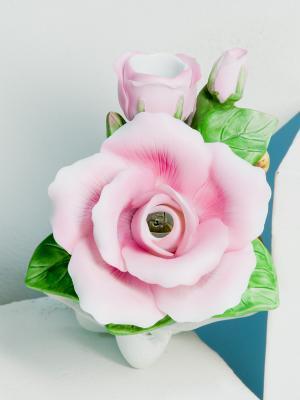 Арома-светильник Роза Pavone. Цвет: зеленый (осн.), розовый (осн.)