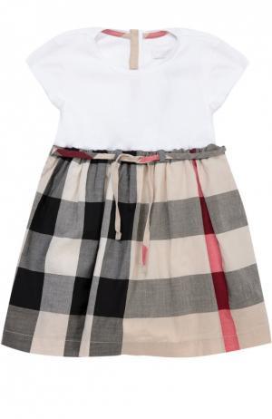 Хлопковое платье с юбкой в клетку Burberry. Цвет: бежевый