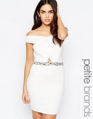 Lipstick Boutique Petite Платье с декорированной отделкой на талии. Цвет: белый
