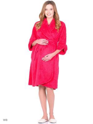 Халат для беременных из вельсофта 40 недель. Цвет: малиновый