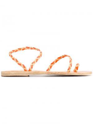 Босоножки Eleftheria с косичками Ancient Greek Sandals. Цвет: телесный