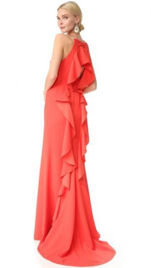 Вечернее платье с оборками Lela Rose. Цвет: оранжевый
