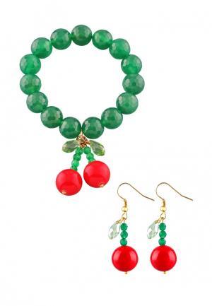 Комплект браслет и серьги Anna Slavutina. Цвет: зеленый