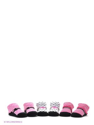 Носки, 3 пары Luvable Friends. Цвет: розовый, белый, черный