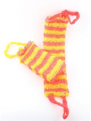 Мочалка для тела узкая, набор из 2-х шт. Радужки. Цвет: красный, желтый