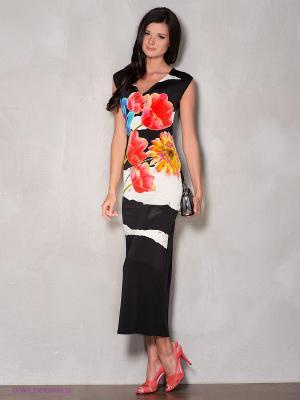 Платье Coccapani. Цвет: черный, оранжевый